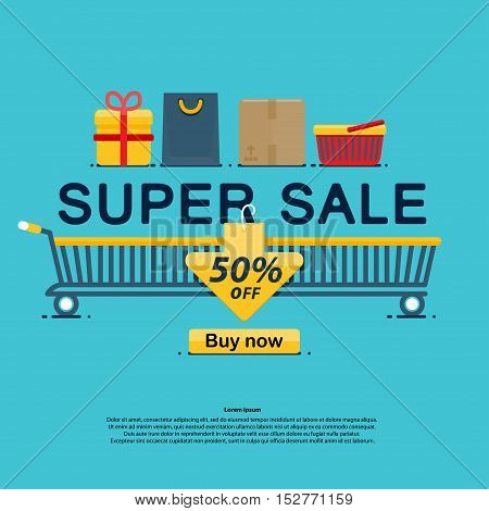 Super sale icons, buy now discount, Vector illustration in flat, cartoon style isolated from the background