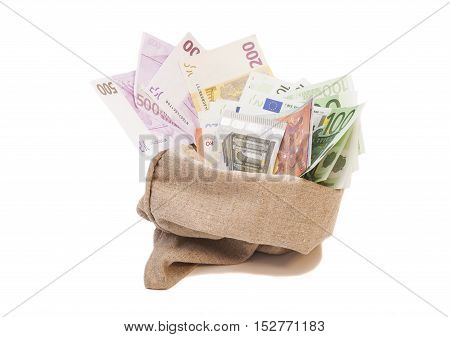 Money bag with euro isolated on white background