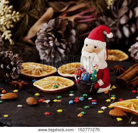 Figurine Santa Claus Christmas The Background Branches, Selective Focus