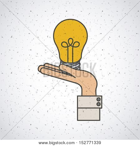 Light bulb and hand icon. Investment ideas profit and start up theme. Colorful and isolated design. Vector illustration