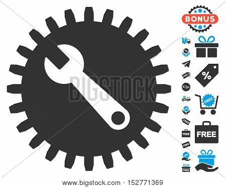 Service Tools pictograph with free bonus images. Vector illustration style is flat iconic symbols, blue and gray colors, white background.