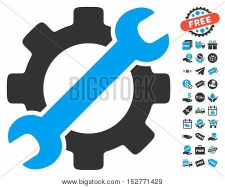 Service Tools pictograph with free bonus symbols. Vector illustration style is flat iconic symbols, blue and gray colors, white background.