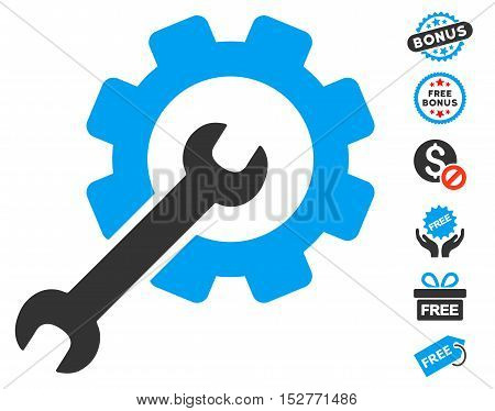 Setup Tools pictograph with free bonus pictograms. Vector illustration style is flat iconic symbols, blue and gray colors, white background.