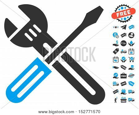 Spanner and Screwdriver icon with free bonus pictograph collection. Vector illustration style is flat iconic symbols, blue and gray colors, white background.