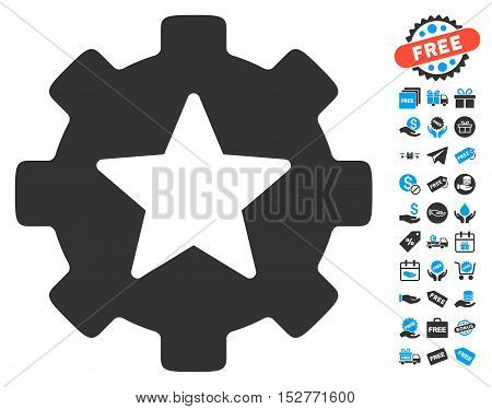 Star Favorites Options Gear icon with free bonus pictograms. Vector illustration style is flat iconic symbols, blue and gray colors, white background.