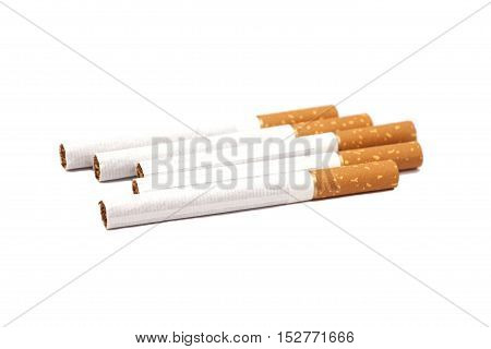 Cigarettes with brown filter isolated on white background