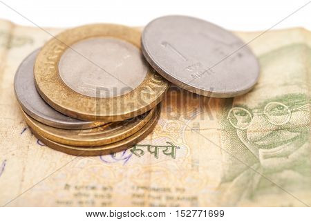 Indian Currency Rupee Notes and Coins isolated