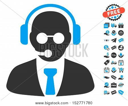 Support Manager pictograph with free bonus graphic icons. Vector illustration style is flat iconic symbols, blue and gray colors, white background.