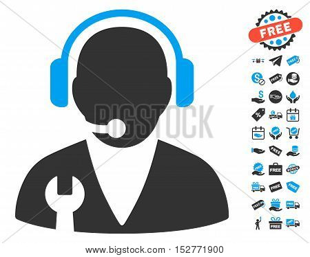 Support Manager icon with free bonus graphic icons. Vector illustration style is flat iconic symbols, blue and gray colors, white background.