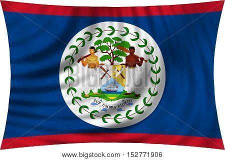 Belizean national official flag. Patriotic symbol banner element background. Correct colors. Flag of Belize waving isolated on white 3d illustration