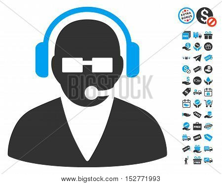Support Operator pictograph with free bonus pictures. Vector illustration style is flat iconic symbols, blue and gray colors, white background.