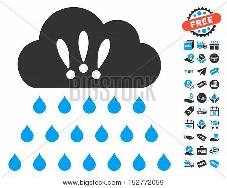 Thunderstorm Rain Cloud pictograph with free bonus icon set. Vector illustration style is flat iconic symbols, blue and gray colors, white background.