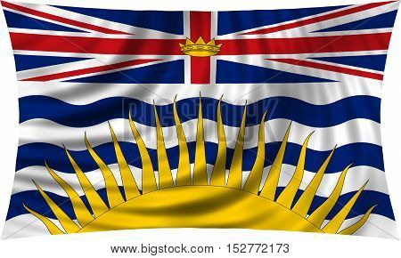 Canadian provincial BC patriotic element and official symbol. Canada banner and background. Flag of the Canadian province of British Columbia waving isolated on white 3d illustration