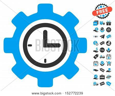 Time Setup Gear pictograph with free bonus design elements. Vector illustration style is flat iconic symbols, blue and gray colors, white background.