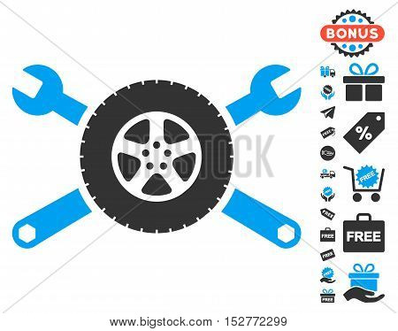 Tire Service Wrenches icon with free bonus images. Vector illustration style is flat iconic symbols, blue and gray colors, white background.