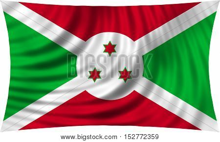 Burundian national official flag. African patriotic symbol banner element background. Correct colors. Flag of Burundi waving isolated on white 3d illustration