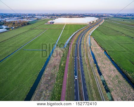 Aerial view of greenhouse in fields Netherlands
