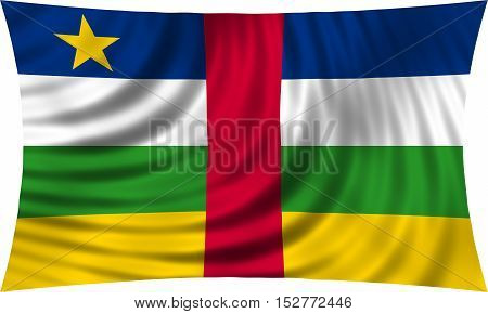 Central Africa national official flag. African patriotic symbol banner element background. Correct colors. Flag of the Central African Republic waving isolated on white 3d illustration
