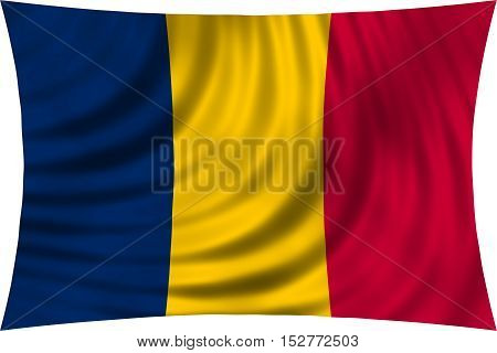 Chadian national official flag. African patriotic symbol banner element background. Correct colors. Flag of Chad waving isolated on white 3d illustration