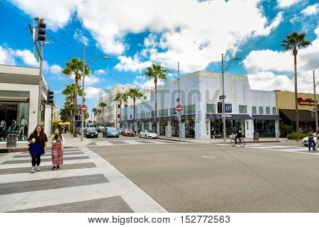BEVERLY HILLS, CA - SEP 20: Rodeo Drive in Beverly Hills on September 20, 2013. Rodeo Drive is an affluent shopping district known for designer label and haute couture fashion.