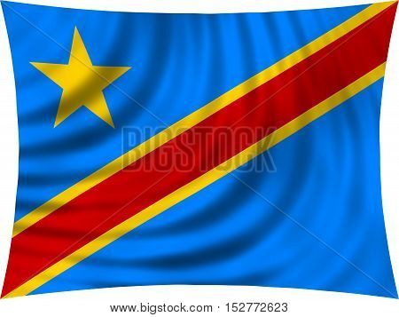 DR Congo national official flag. African patriotic symbol banner element background. Correct colors. Flag of Democratic Republic of the Congo waving isolated on white 3d illustration