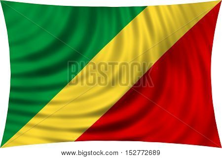 Congo Republic national official flag. African patriotic symbol banner element background. Correct colors. Flag of Republic of the Congo waving isolated on white 3d illustration