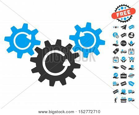 Transmission Wheels Rotation pictograph with free bonus icon set. Vector illustration style is flat iconic symbols, blue and gray colors, white background.