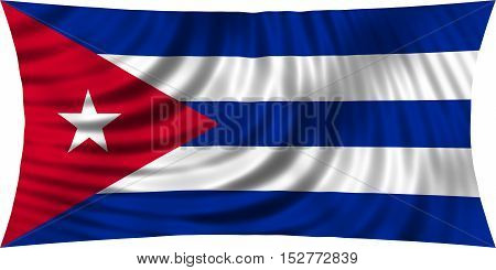 Cuban national official flag. Patriotic symbol banner element background. Correct colors. Flag of Cuba waving isolated on white 3d illustration