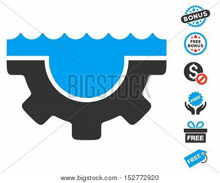 Water Service Gear pictograph with free bonus design elements. Vector illustration style is flat iconic symbols, blue and gray colors, white background.