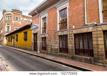 Street in the center of Bogota, La Candelaria neighborhood, Colombia