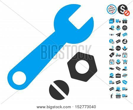 Wrench and Nuts icon with free bonus icon set. Vector illustration style is flat iconic symbols, blue and gray colors, white background.