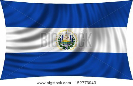 Salvadoran national official flag. Patriotic symbol banner element background. Correct colors. Flag of El Salvador waving isolated on white 3d illustration