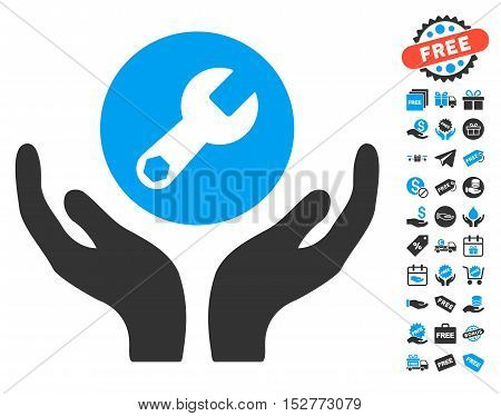 Wrench Maintenance pictograph with free bonus symbols. Vector illustration style is flat iconic symbols, blue and gray colors, white background.
