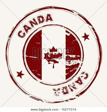 Canadian grunge ink rubber stamp with Canada flag