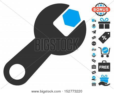 Wrench pictograph with free bonus pictograms. Vector illustration style is flat iconic symbols, blue and gray colors, white background.
