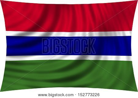 Gambian national official flag. African patriotic symbol banner element background. Correct colors. Flag of the Gambia waving isolated on white 3d illustration
