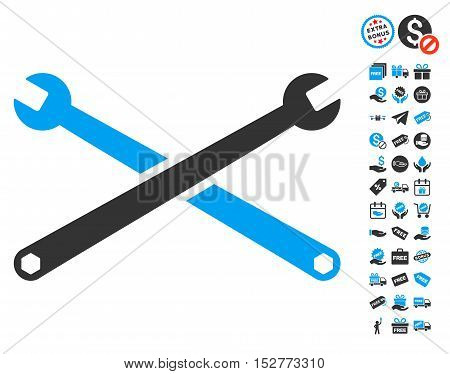 Wrenches icon with free bonus images. Vector illustration style is flat iconic symbols, blue and gray colors, white background.
