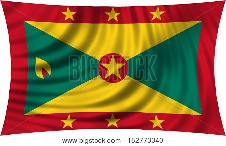Grenadian national official flag. Patriotic symbol banner element background. Correct colors. Flag of Grenada waving isolated on white 3d illustration