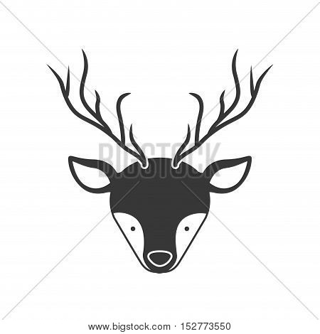 deer animal face with horns silhouette. vector illustration
