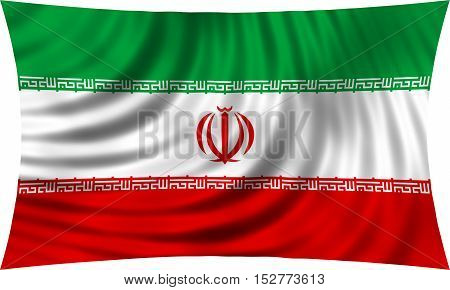 Iranian national official flag. Islamic Republic of Iran patriotic symbol banner element background. Correct colors. Flag of Iran waving isolated on white 3d illustration