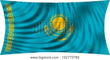 Kazakhstani national official flag. Patriotic symbol banner element background. Correct colors. Flag of Kazakhstan waving isolated on white 3d illustration