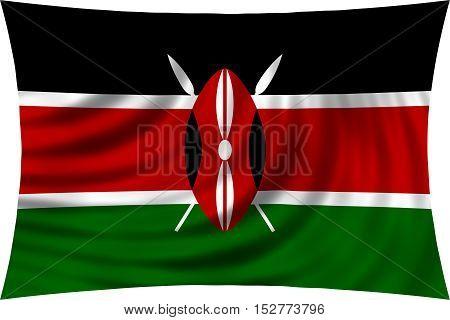 Kenyan national official flag. African patriotic symbol banner element background. Correct colors. Flag of Kenya waving isolated on white 3d illustration