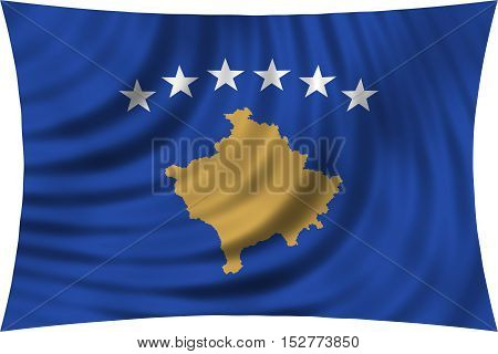 Kosovan national official flag. Patriotic symbol banner element background. Correct colors. Flag of Kosovo waving isolated on white 3d illustration