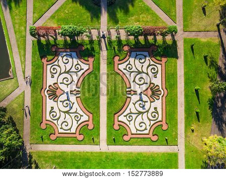 Aerial view of Landscaping design of garden