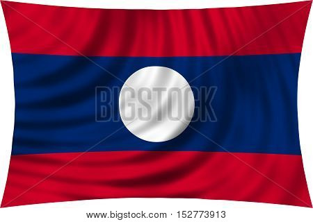 Laotian national official flag. Patriotic symbol banner element background. Correct colors. Flag of Laos waving isolated on white 3d illustration