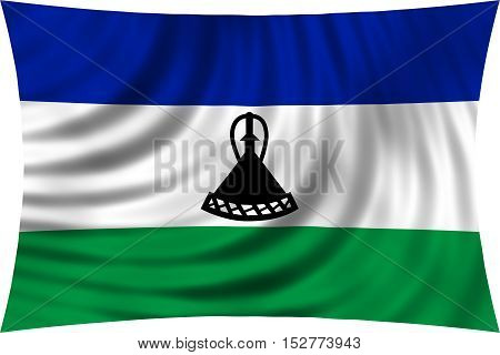 Lesotho national official flag. Basotho african patriotic symbol banner element background. Correct colors. Flag of Lesotho waving isolated on white 3d illustration