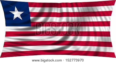 Liberian national official flag. African patriotic symbol banner element background. Correct colors. Flag of Liberia waving isolated on white 3d illustration