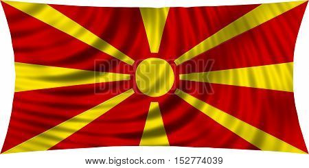 Macedonian national official flag. Patriotic symbol banner element background. Correct colors. Flag of Macedonia waving isolated on white 3d illustration