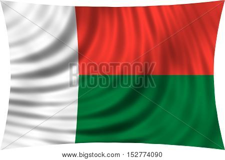 Madagascar national official flag. African patriotic symbol banner element background. Correct colors. Flag of Madagascar waving isolated on white 3d illustration