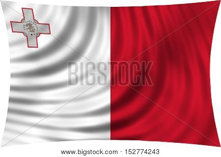 Maltese national official flag. Patriotic symbol banner element background. Correct colors. Flag of Malta waving isolated on white 3d illustration